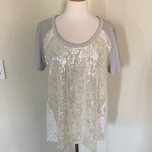NWT MISS ME Sequin Lace Top Size L
